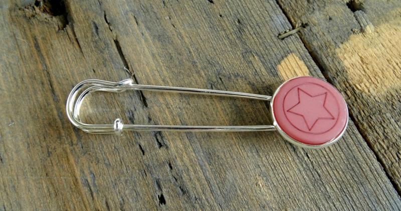 2 Love it Ster Old Pink - Sjaalspeld - Vestspeld - Metaal - 8 x 2 cm - Lood & Nickelvrij - Roze -  Zilverkleurig