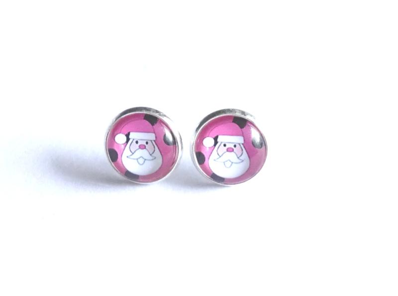 2 Love it Santa P - Oorbellen - Oorknopjes - Kerst - Metaal - 12 mm - Rood - Roze - Wit - Zwart - Zilverkleurig