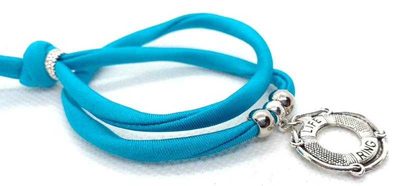 2 Love it Bella's BlueZircon - Armband - Elastisch stitched lint - 50 cm - Verstelbaar in maat - Blauw - Zilverkleurig