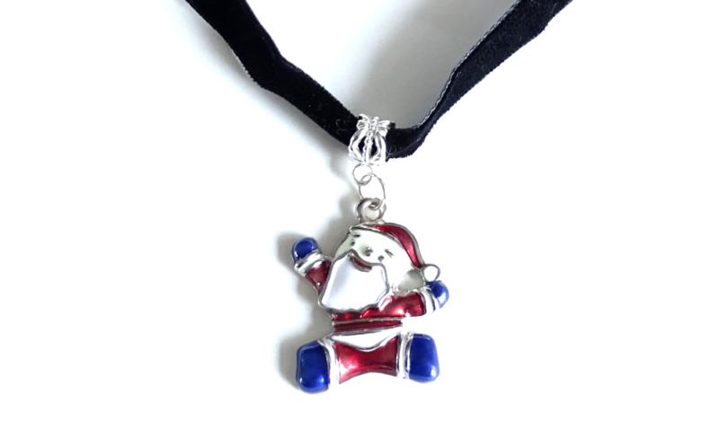 2 Love it Crazy Santa -  Ketting - Kerst - 35 tot 40 CM - Zwart - Rood - Blauw - Wit - Zilverkleurig