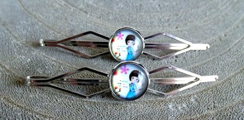 2 Love it Doll - Schuifspeldjes - Haarspeld - Kinderen - Set van 2 - Lengte 7 cm - Lood & Nickelvrij - Blauw - Bruin - Geel - Roze - Wit - Zilverkleurig