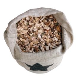 Houtsnippers essenhout in jute zak 120 liter