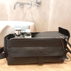 "Luxe Leren Toilettas - ""Black leather"" (zwart)"