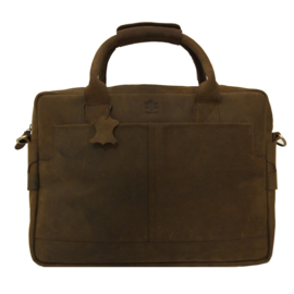 "Madriez leren laptoptas - ""Grazy Horse Leather"" model Londen (Bruin)"
