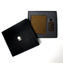 Portemonnee en sleutelhanger cadeauset - giftset 100% leder (bruin)