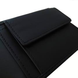 Portemonnee en sleutelhanger  cadeauset - giftset 100% leder (zwart)