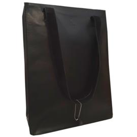 Madriez Exclusief Dames Shopper - Schoudertas - leren damestas - met laptop vak 14 / 15.6 inch (zwart)