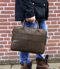 """Madriez leren laptoptas - """"Grazy Horse Leather"""" model Londen (Bruin)"""