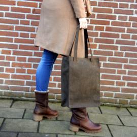 Madriez Exclusief Dames Shopper - Schoudertas - leren damestas - met laptop vak 14 / 15.6 inch (bruin)