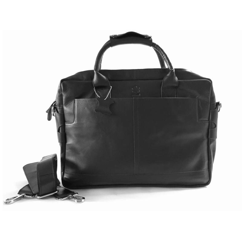 "Madriez leren laptoptas - ""Black Leather"" model Londen (Zwart)"