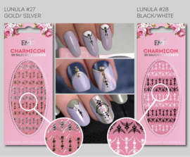 Charmicon  Stickers Lunula #27 Gold/Silver en #28 Black/White