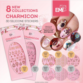 Set van alle Charmicon 3D Silicone Stickers voor Gemty gel