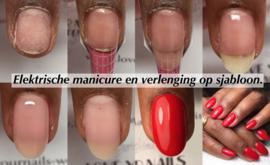 Elektrische manicure en verlenging op sjabloon , salon nagel, 7 en 8 oktober 2019