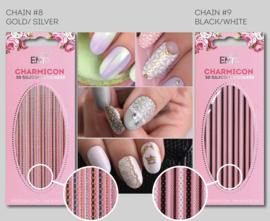 Charmicon 3D Silicone Stickers Chain #8 Gold/Silver en #9 Black/White