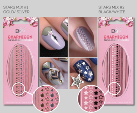 Charmicon 3D Silicone Stickers Stars MIX #1 Gold/Silver en #2 Black/White