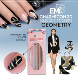 Charmicon  Stickers Lines #41 Geometry Gold/Silver and #42 Geometry Black/White