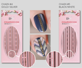 Charmicon 3D Silicone Stickers Chain #4 Gold/Silver en #5 Black/White