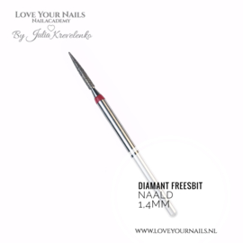Diamant freesbit needle, red (soft) 1,4mm