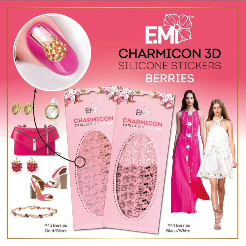 Charmicon 3D Silicone Stickers #43 Berries Gold/Silver and #44 Berries Black/White