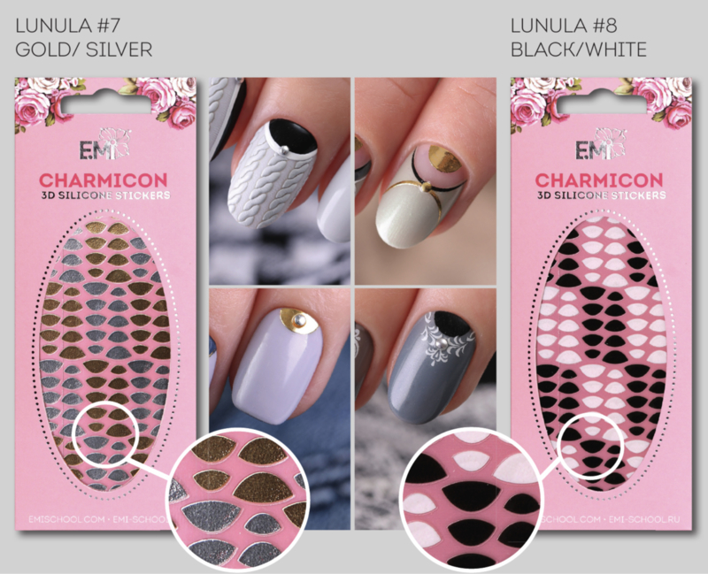 Charmicon Lunula #7 Gold/Silver en #8 Black/White