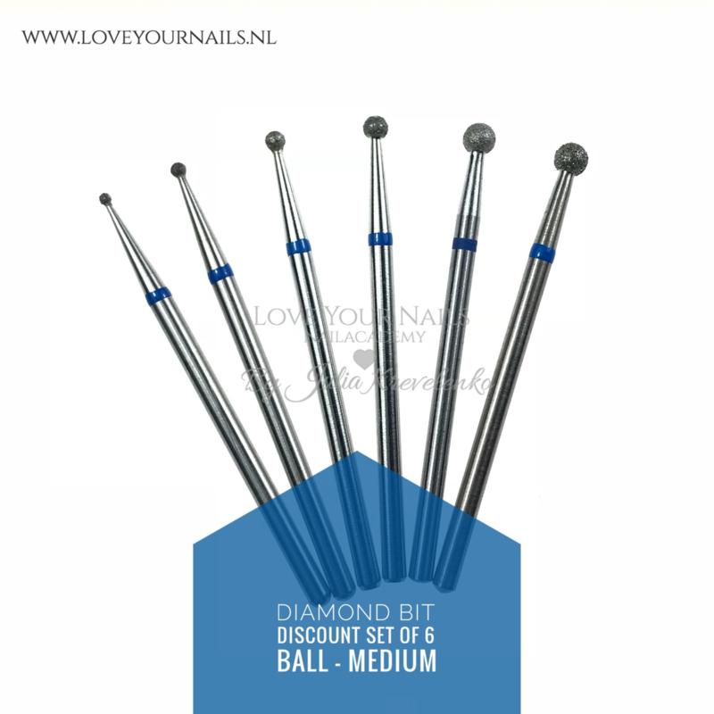 Set  van 6 diamante freesbitjes - Medium Bal