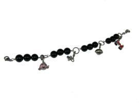 Armband met zwarte kralen met Elemento bedeltjes
