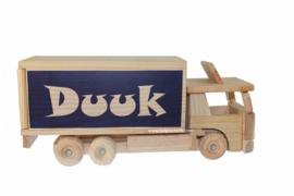Geboorte Geschenk Houten vrachtwagen spaarpot met naam