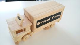 Houten vrachtwagen spaarpot met naam geboorte geschenk
