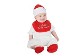 Kerstmis baby slab, mutsje en slofjes