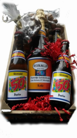 Bier Abraham cadeau kistje met Naam  op het etiket