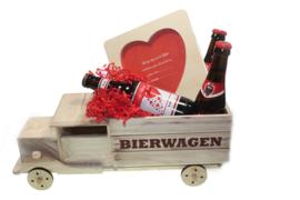 Bierwagen cadeau voor Valentijn met liefdes boodschap