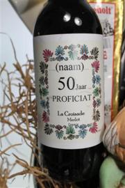 Verjaardag 50 jaar met persoonlijke felicitatie op wijnflesje
