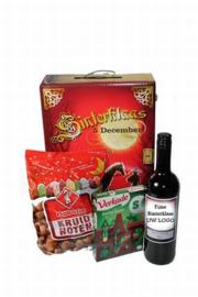 Sinterklaas geschenkdoos met wijnfles met Logo