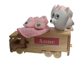 Houten geboorte  cadeau Anne met Babynaam
