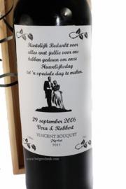 Wijnfles als bedankje voor Ceremoniemeester of Ouders