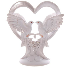 Hart met duiven huwelijksbeeldje