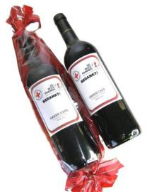 Wijncadeau met Bedrijfslogo en wens op het etiket