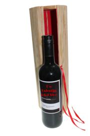 Wijn in Hartvorm koker met Persoonlijk wijnetiket
