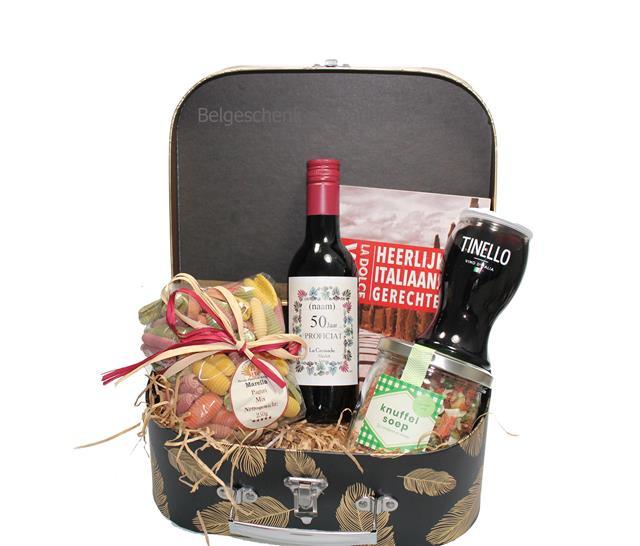 Italiaans cadeau pakket in zwart goud kleurig koffertje