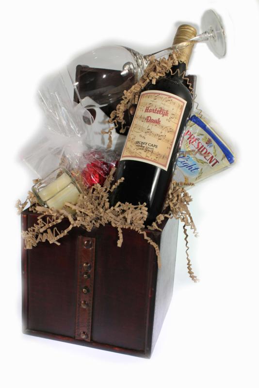 Bedank cadeau kistje wijn