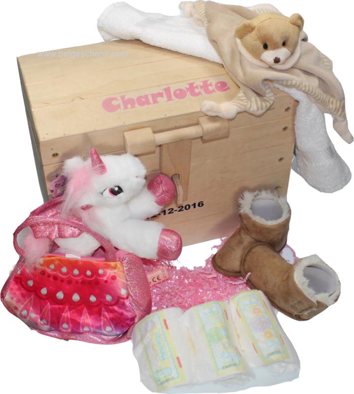 Speelgoedkist geboorte cadeaupakket met Babynaam