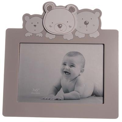 Baby fotolijst fotokader met beren kleur grijs