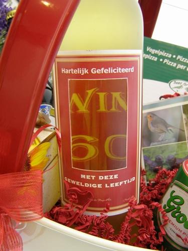 Wijn in venster fles met eigen Logo of Foto