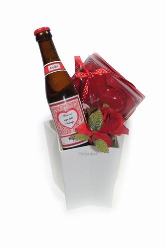 Valentijn biercadeau in IJs ster houder