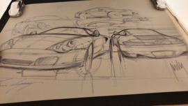 Porsche 911 996 Turbo design sketch - 60 x 43,50 cm - Limited edition - Harm Lagaay