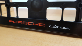 "Porsche license plate holder ""Classic"" - Red/White letters"
