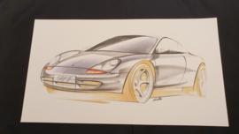 Porsche 911 996 Étude de conception - 59 x 33 cm - Matthias Kulla
