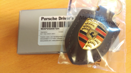 Porsche sleutelhanger met Porsche embleem - grijs