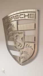 Porsche Logo van geborsteld RVS 70 x 55,6 cm