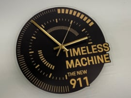 Porsche Timeless Machine Wall Clock - Black with Gold Letters